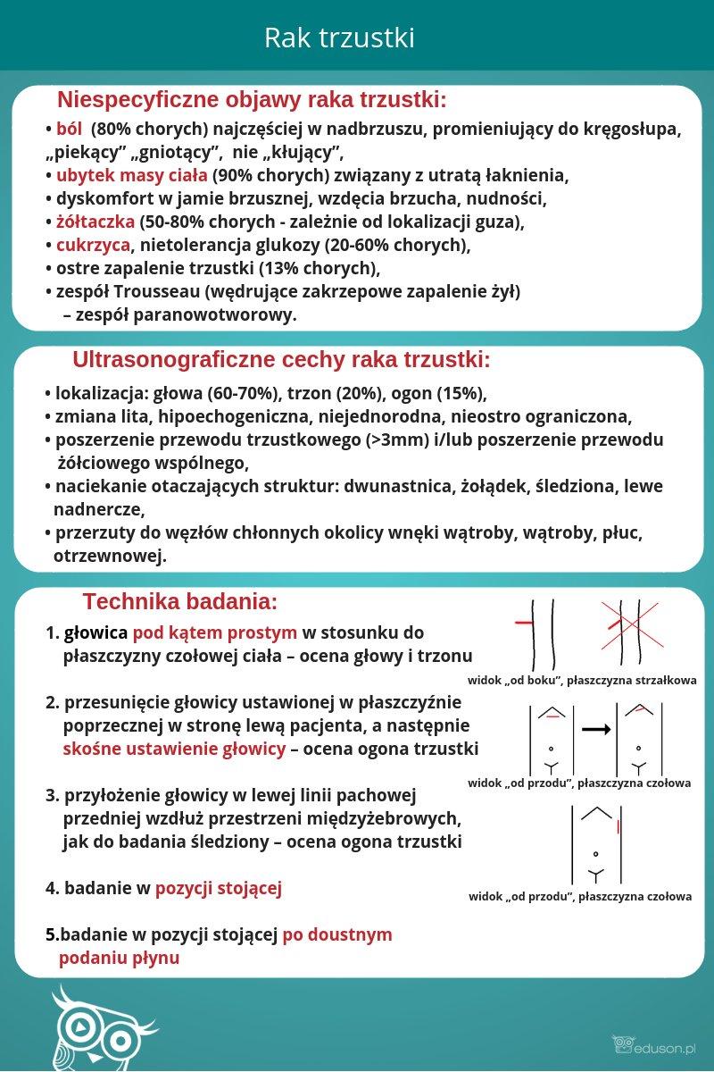 Rycina 1. Infografika: niespecyficzne objawy raka trzustki, ultrasongoraficzne cechy raka trzustki, technika badania ultrasonograficznego, eduson.pl