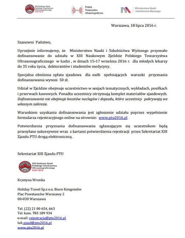 XIII NAUKOWY ZJAZD POLSKIEGO TOWARZYSTWA ULTRASONOGRAFICZNEGO ŁÓDŹ 15 - 17 WRZEŚNIA 2016