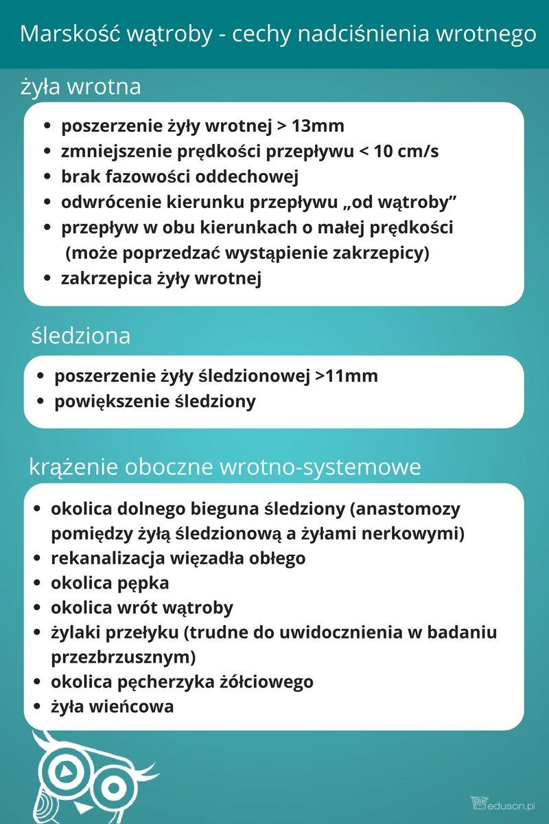 Infografika eduson.pl: Marskość wątroby - cechy nadciśnienia wrotnego (żyła wrotna, śledziona, krążenie oboczne wrotno-systemowe)
