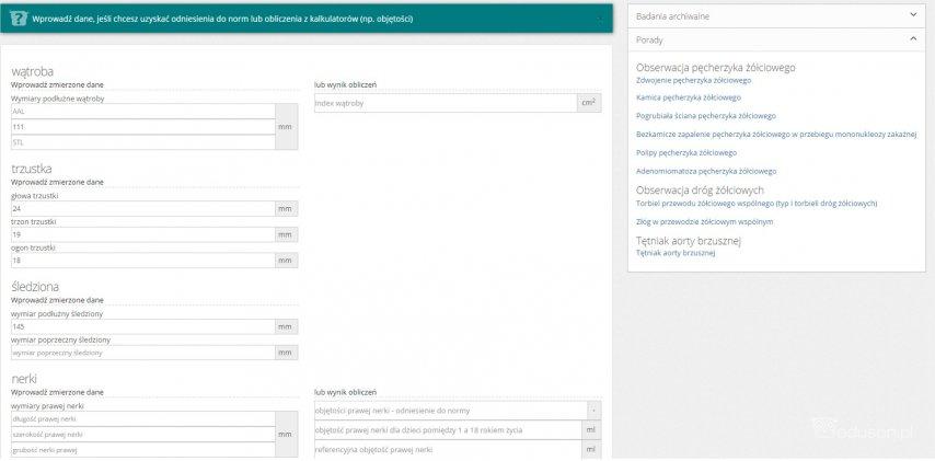 Eduson - Opisy USG - podpowiedzi co mierzyć podczas badania usg