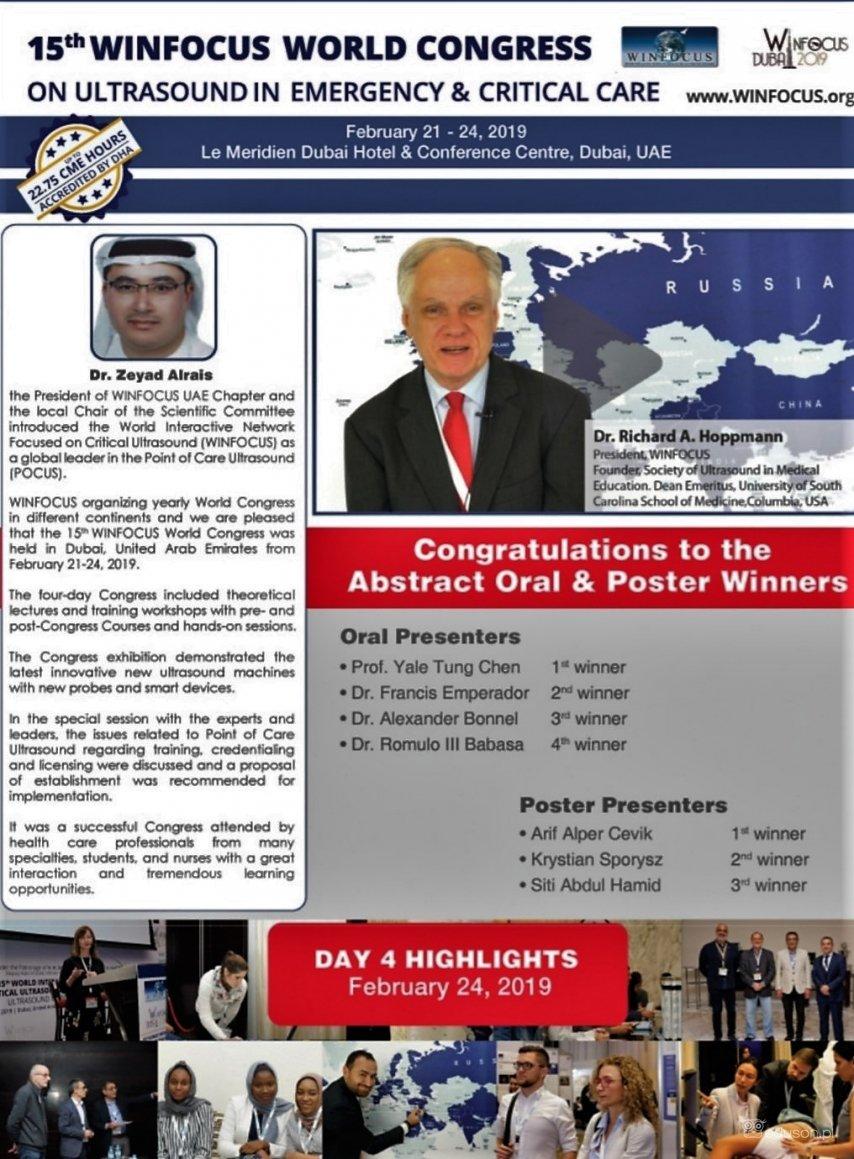 Krystian Sporysz, lekarz stażysta zGdańska, nagrodzony podczas 15. Kongresu WINFOCUS wDubaju
