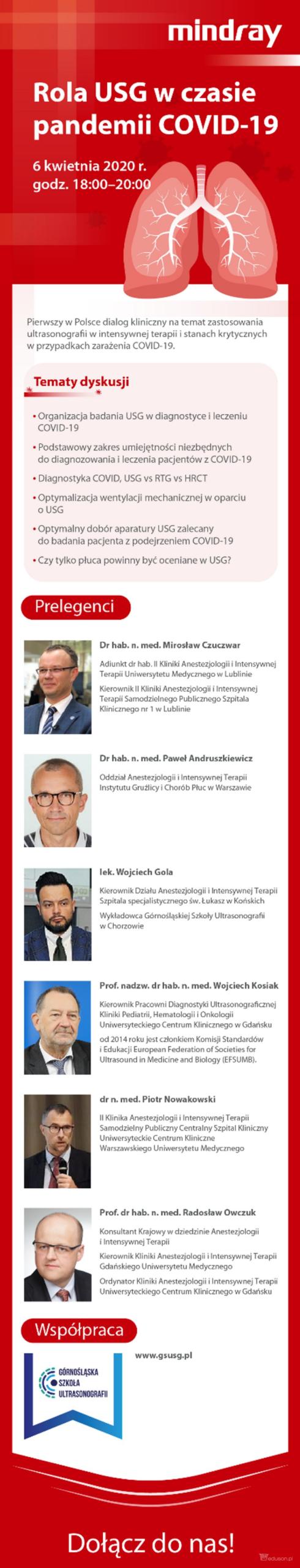 AKTUALIZACJA [10.04.2020]! 14 kwietnia zapraszamy nakolejny webinar natemat wykorzystania usg podczas pandemii COVID-19! - Portal wymiany wiedzy oultrasonografii - Eduson