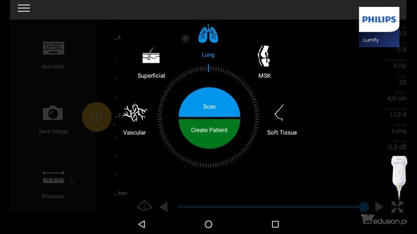 Wybór presetu płucnego podczas obrazowania głowicą liniową waparacie Philips Lumify.